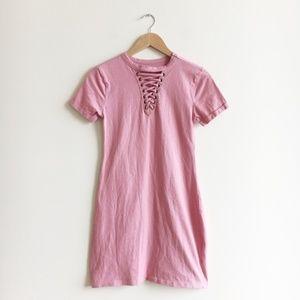 Francesca's Alya Pink Lace up T-shirt Dress